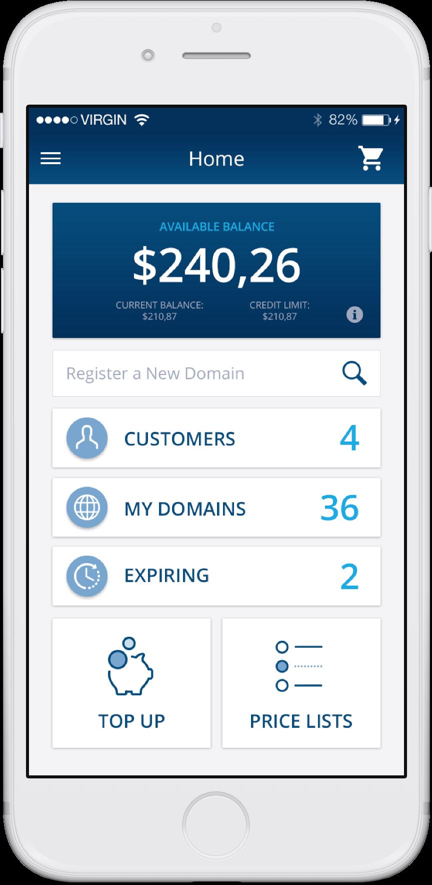 Domain Management App features